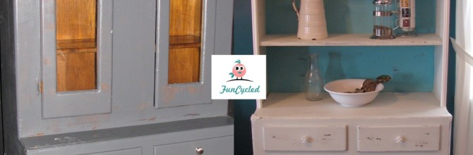 Shabby Chic Style White and Teal Hutch