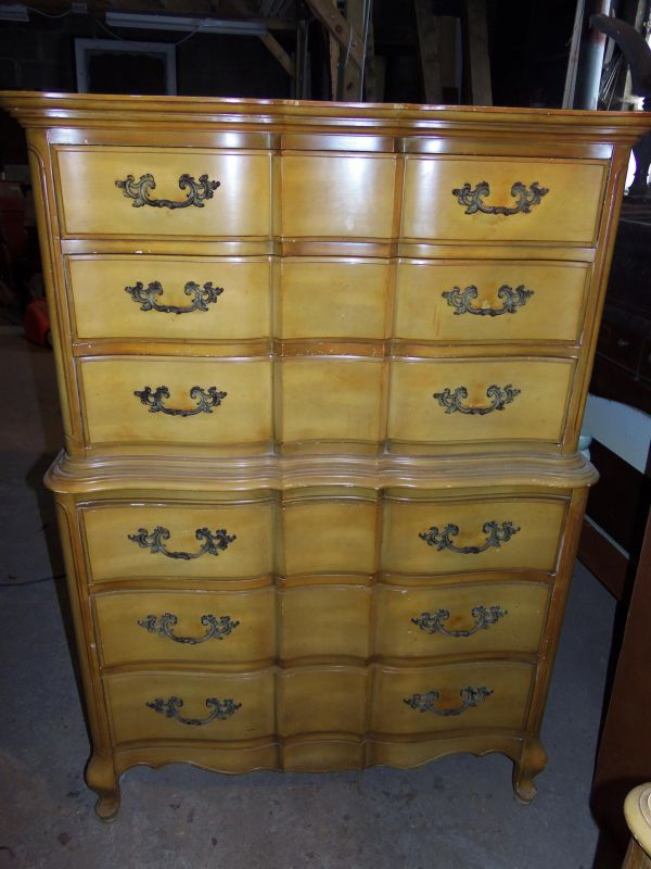 Black French Provincial High Boy Dresser Set For Sale