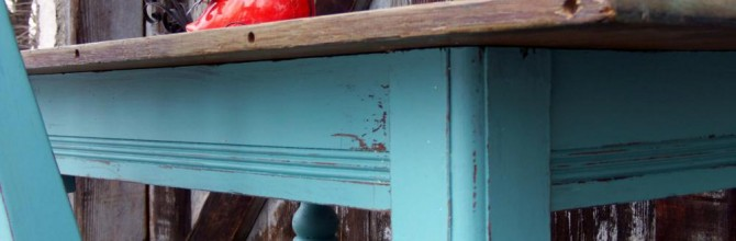 Warm Teal and Aged Wood Desk and Chair Set
