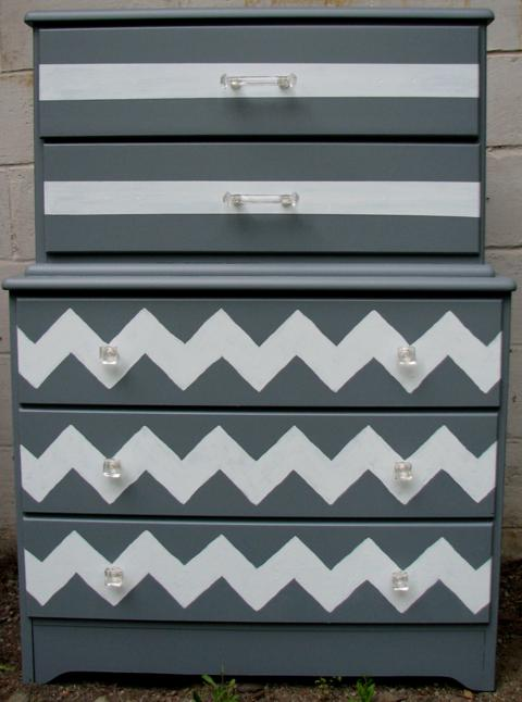 How to Paint a Chevron Dresser