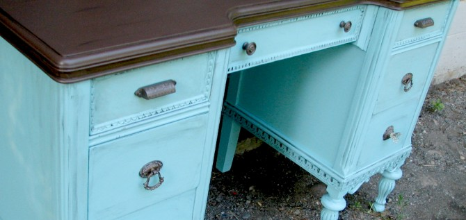 Tuesday's Treasures – Antique Aqua Desk