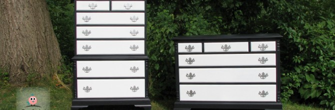Glamorous Black and White Dresser Set