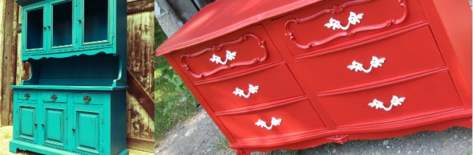 Tuesday's Treasures – Vintage Teal Hutch and Red French Provincial Dresser