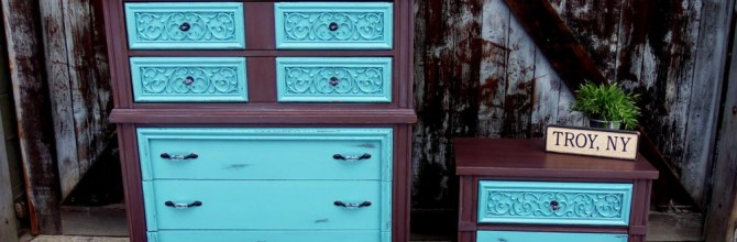 Delicious Brown and Teal Dresser Set – Tuesday's Treasures