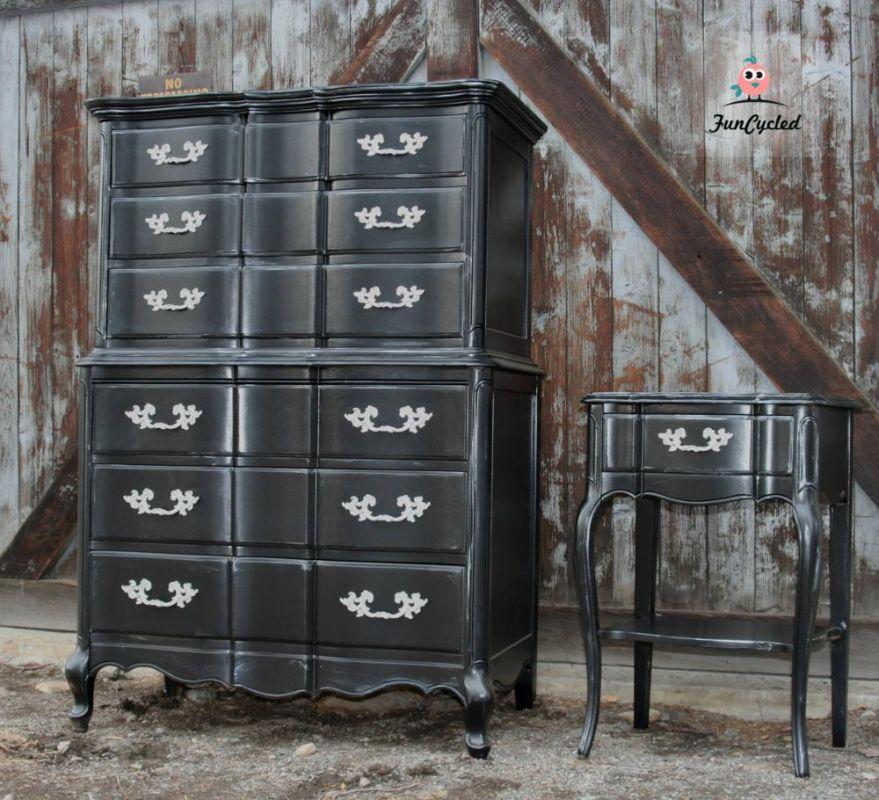 Black French Provincial High Boy Dresser Set For Sale