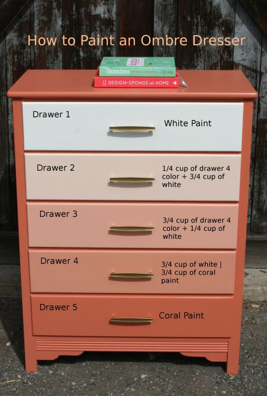 How to paint an ombre dresser funcycled Best color to paint dresser