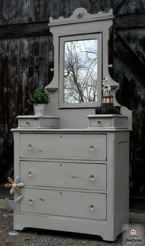 Antique Grey Dresser with Mirror For Sale