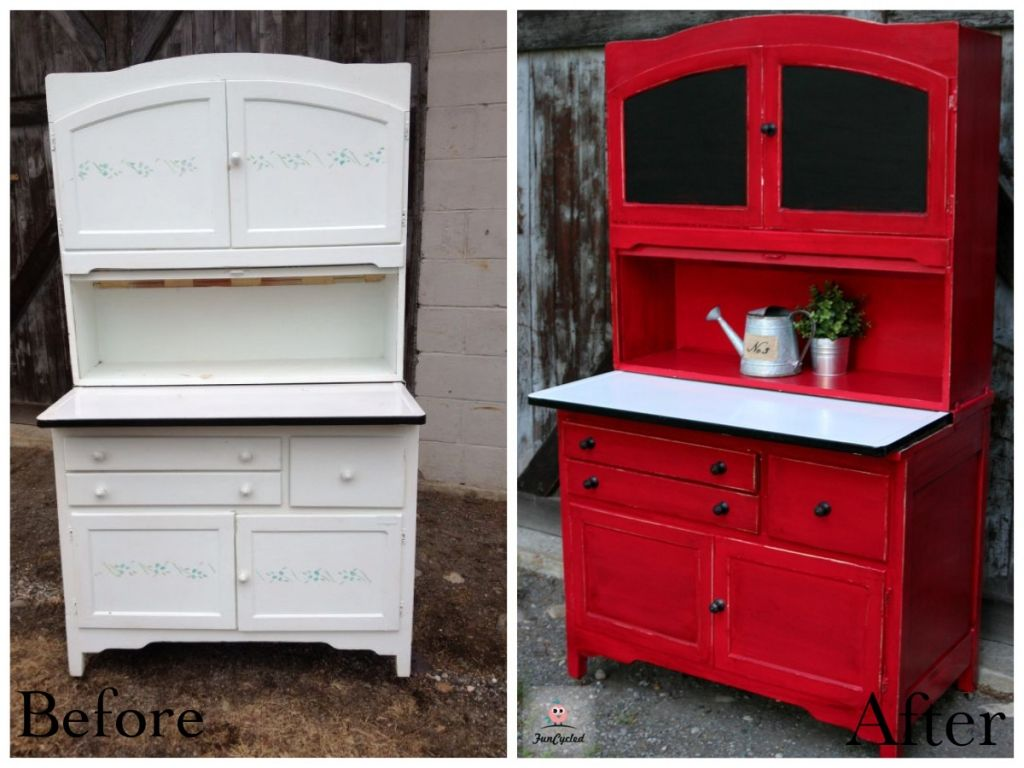 Red hoosier cabinet revamp funcycled for Cupboards and cabinets