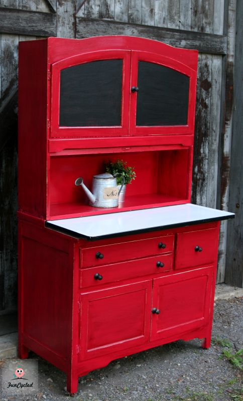 Red hoosier cabinet revamp funcycled Revamp old kitchen cabinets