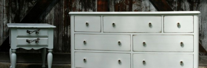 White Pottery-barnish Dresser Set