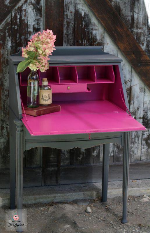 Grey And Hot Pink Secretary Desk Tuesday S Treasures