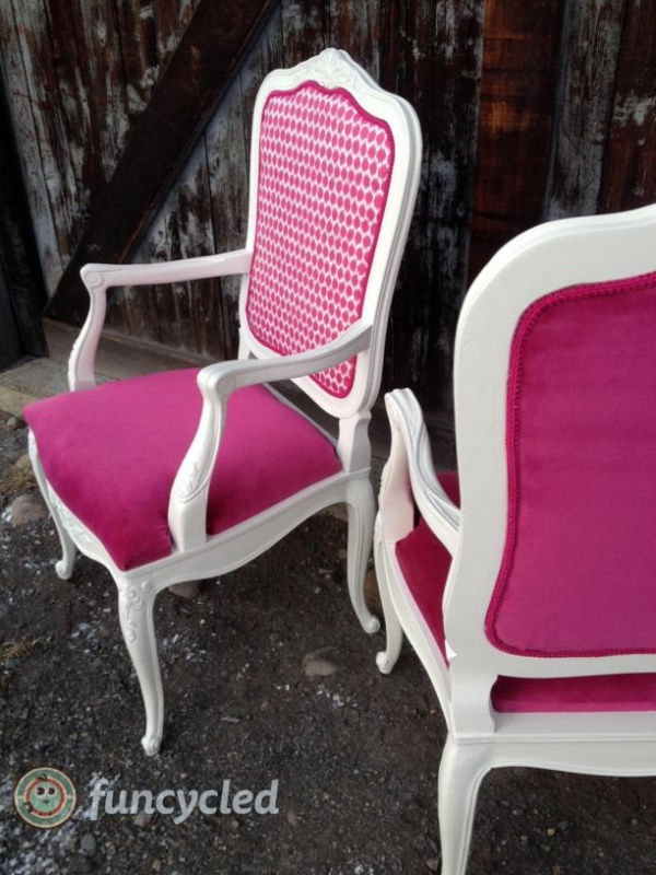 Magenta Teal And Burnt Orange French Provincial Chairs