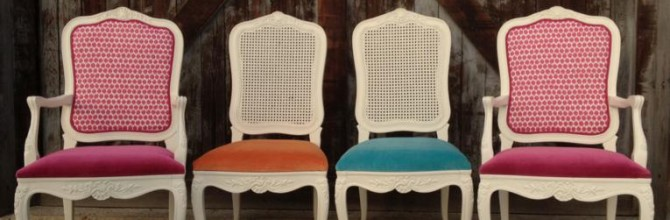 Magenta, Teal and Burnt Orange French Provincial Chairs – Tuesday's Treasures
