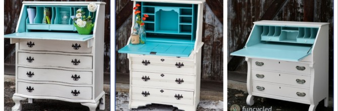 3 Cream and Robin's Egg Blue Secretary Desks – Tuesday's Treasures