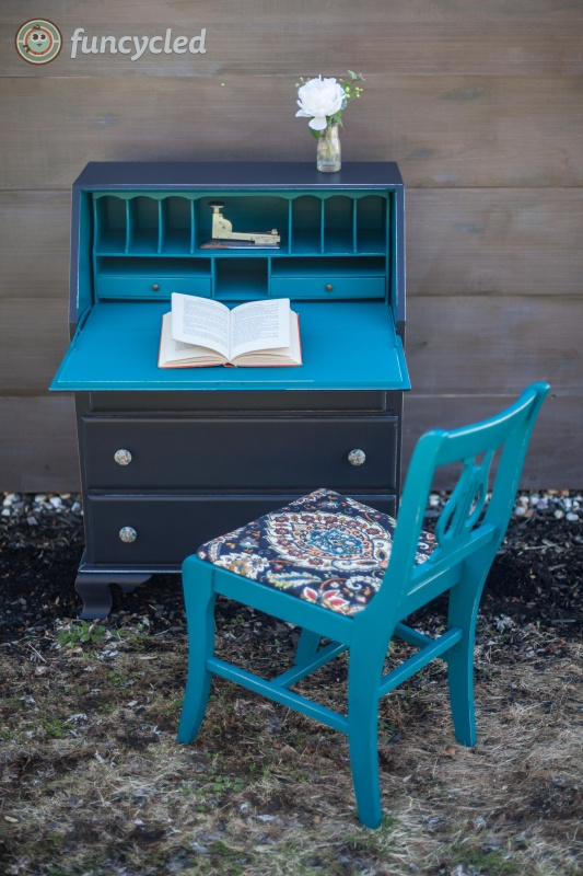 Teal and Gray Secretary Desk