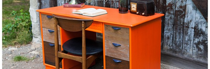 Orange and Ombre Mid Century Desk – Tuesday's Treasures