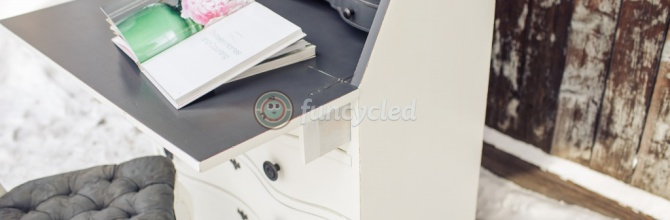 White and Gray Secretary's Desk Makeover – Tuesday's Treasures
