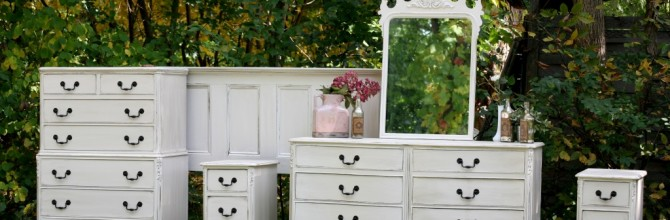 White Antique Dresser Set Makeover – Tuesday's Treasures