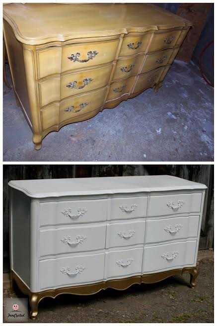 Gold Dipped Dresser by FunCycled