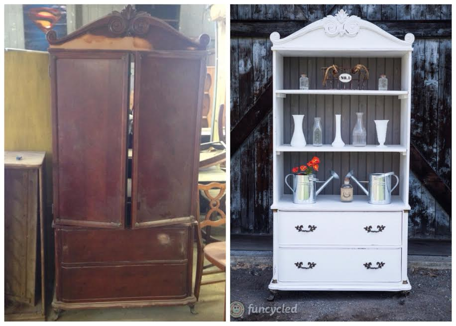 White and Weathered Grey  Armoire by FunCycled