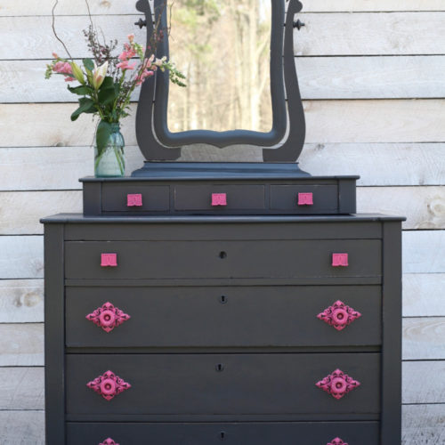 Dark Gray and Hot Pink Dresser