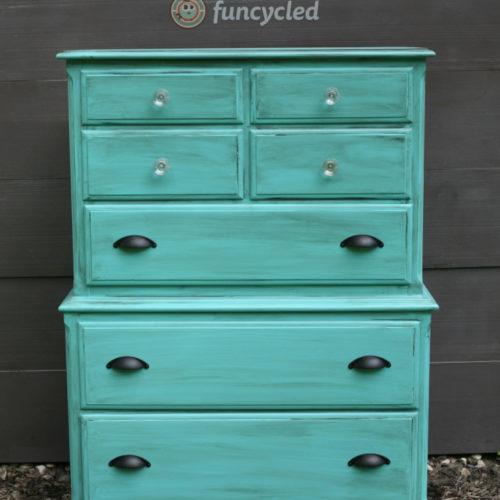 Aqua Distressed Dresser