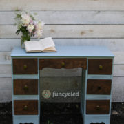 Blue and Wood Front Desk