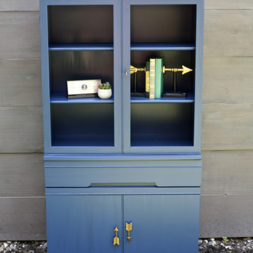 Blue Mid Century Hutch