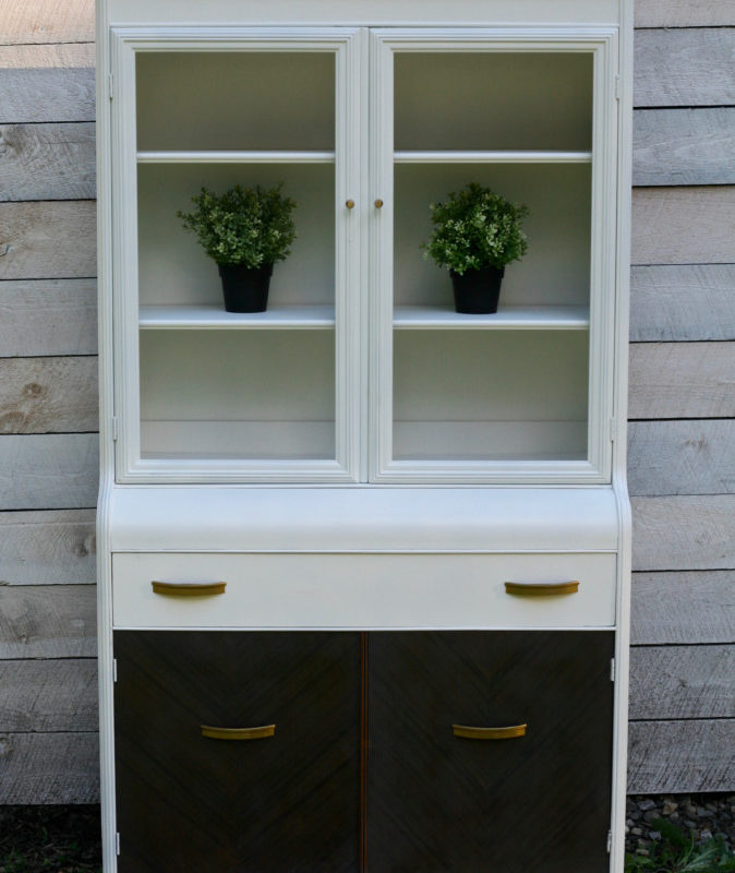 White Mid Century Hutch