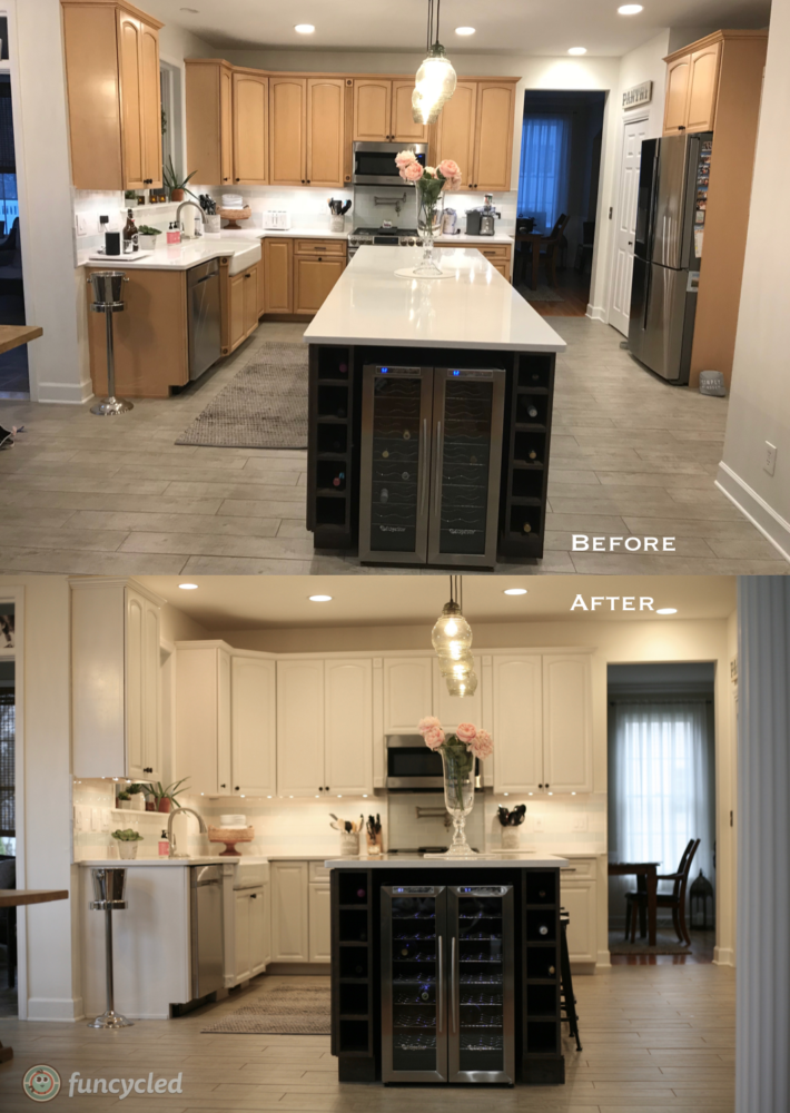 Kitchen Cabinets painted Calm by Benjamin Moore – FunCycled