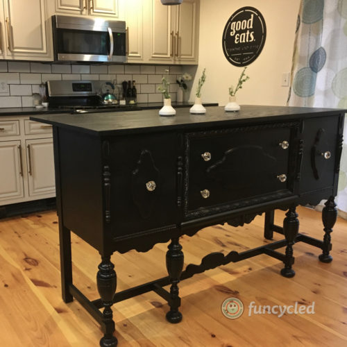 Kitchen Island Made From Antique Buffet: FunCycled