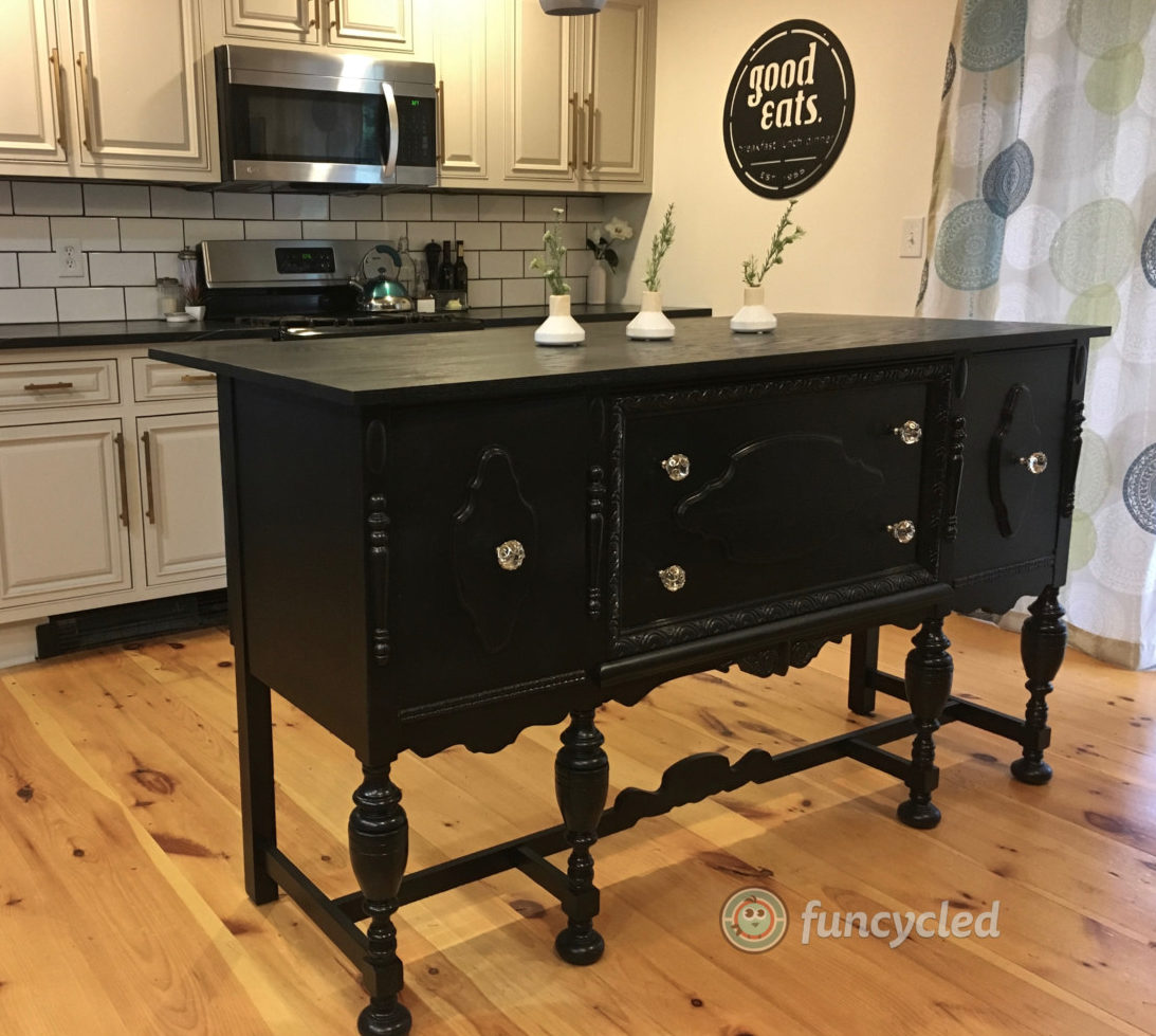 Kitchen Island Made From Old Desk: Repurposed Antique Buffet Into Kitchen Island