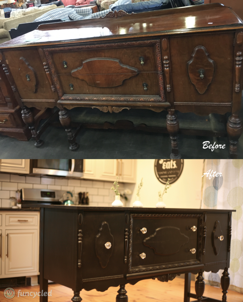 Kitchen Island Made From Antique Buffet: Repurposed Antique Buffet Into Kitchen Island