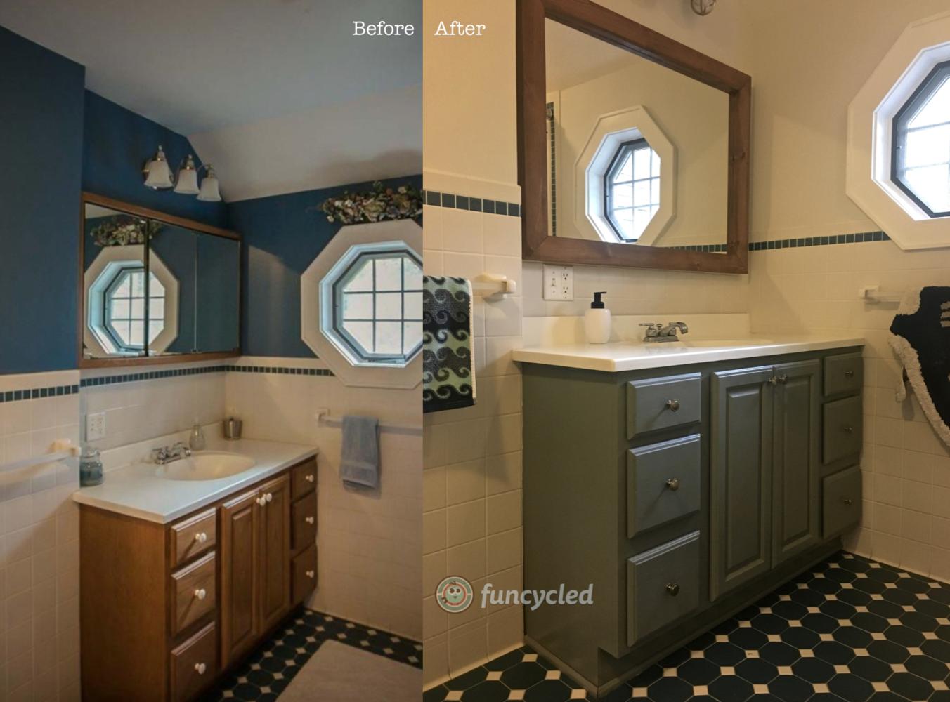 Brewster Gray Bathroom Vanity Makeover Funcycled